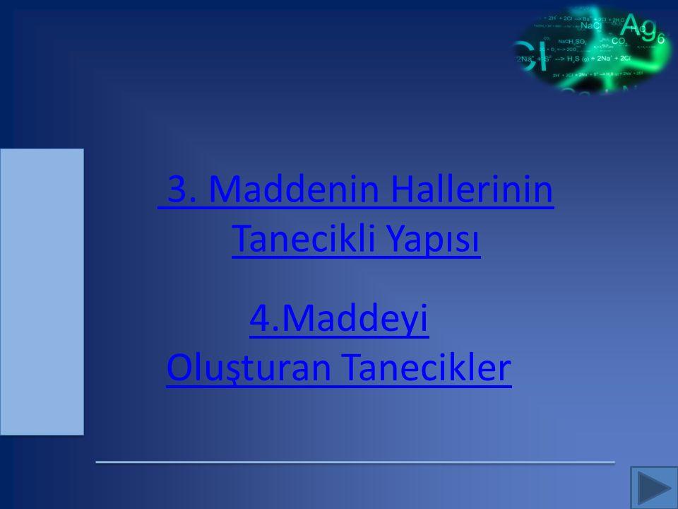 3. Maddenin Hallerinin Tanecikli Yapısı 4.Maddeyi Oluşturan Tanecikler