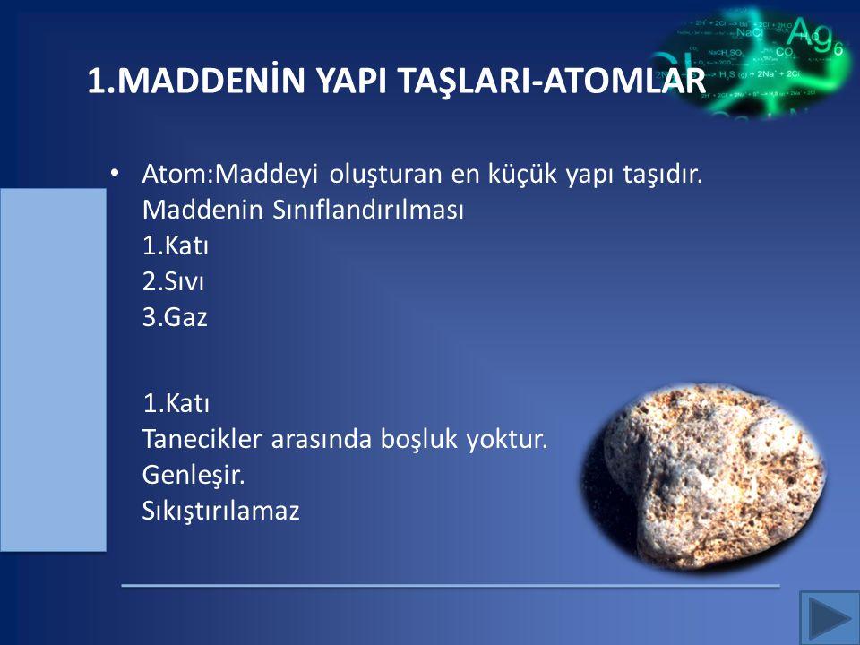 1.MADDENİN YAPI TAŞLARI-ATOMLAR Atom:Maddeyi oluşturan en küçük yapı taşıdır. Maddenin Sınıflandırılması 1.Katı 2.Sıvı 3.Gaz 1.Katı Tanecikler arasınd