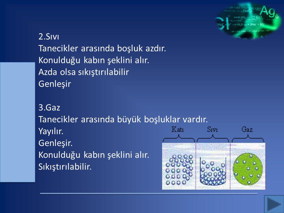 c) Tanecikli Yapı: Bütün maddeler atom (veya bazen molekül) denilen taneciklerden oluşmuştur.