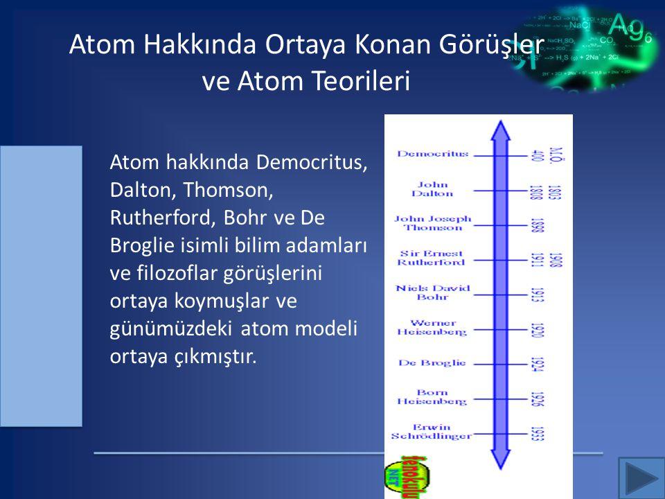 Atom Hakkında Ortaya Konan Görüşler ve Atom Teorileri Atom hakkında Democritus, Dalton, Thomson, Rutherford, Bohr ve De Broglie isimli bilim adamları