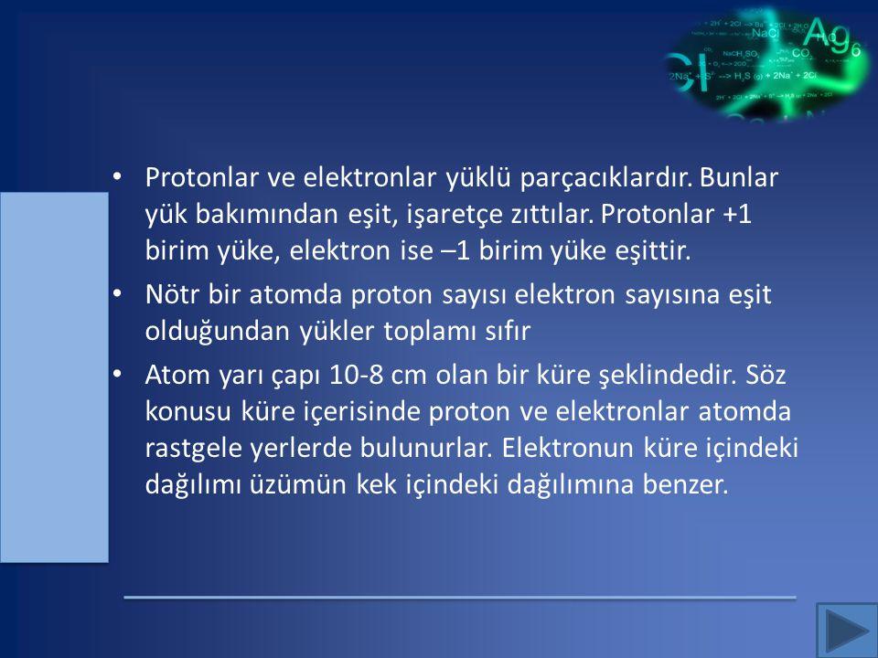 Protonlar ve elektronlar yüklü parçacıklardır. Bunlar yük bakımından eşit, işaretçe zıttılar. Protonlar +1 birim yüke, elektron ise –1 birim yüke eşit
