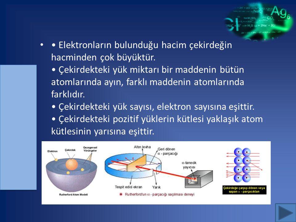 Elektronların bulunduğu hacim çekirdeğin hacminden çok büyüktür. Çekirdekteki yük miktarı bir maddenin bütün atomlarında ayın, farklı maddenin atomlar
