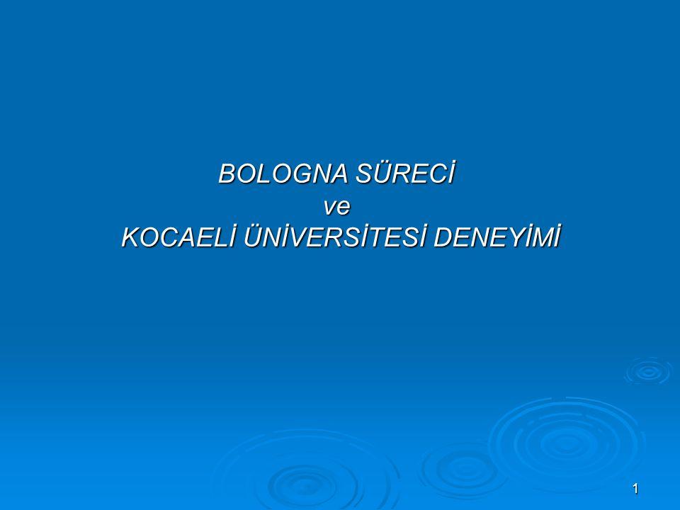 2 Amaç; Bologna Sürecinin kurumda içselleştirilmesidir.