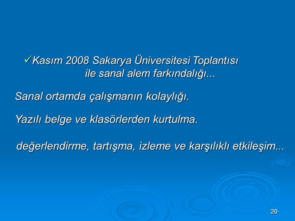 20 Kasım 2008 Sakarya Üniversitesi Toplantısı Kasım 2008 Sakarya Üniversitesi Toplantısı ile sanal alem farkındalığı...