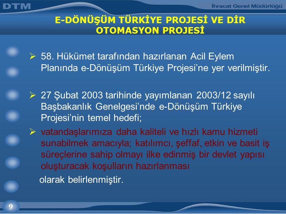 9 E-DÖNÜŞÜM TÜRKİYE PROJESİ VE DİR OTOMASYON PROJESİ  58.