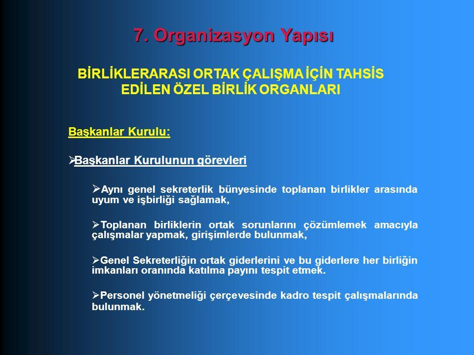 Başkanlar Kurulu:  Başkanlar Kurulunun görevleri  Aynı genel sekreterlik bünyesinde toplanan birlikler arasında uyum ve işbirliği sağlamak,  Toplan