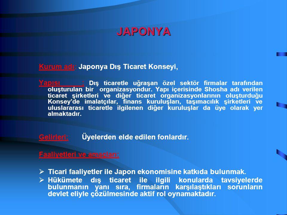 JAPONYA Kurum adı: Japonya Dış Ticaret Konseyi, Yapısı: Dış ticaretle uğraşan özel sektör firmalar tarafından oluşturulan bir organizasyondur. Yapı iç