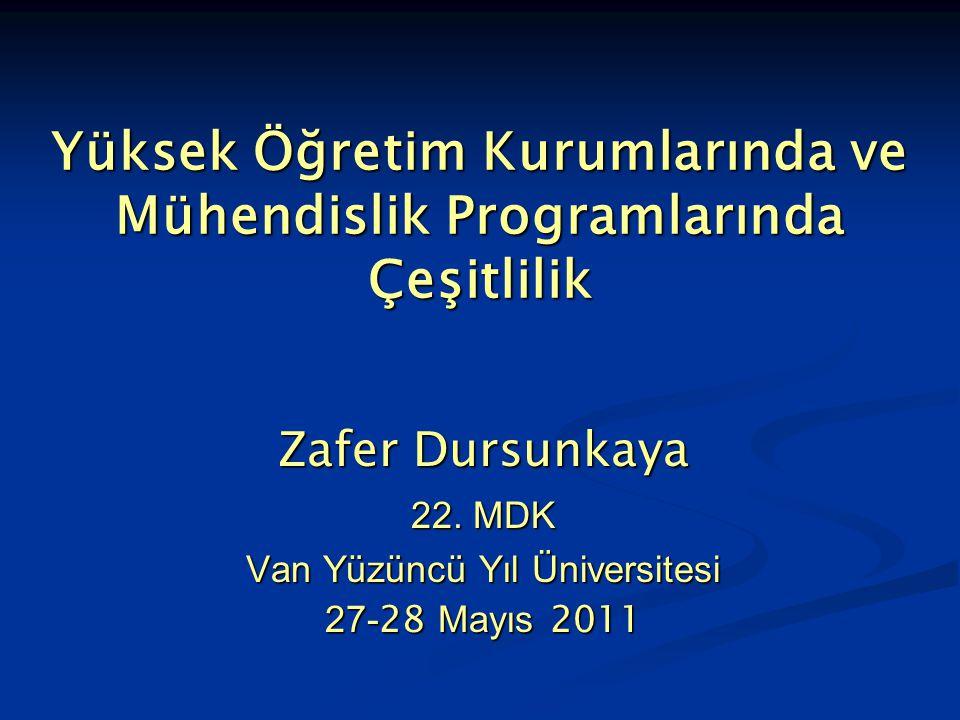 Yüksek Öğretim Kurumlarında ve Mühendislik Programlarında Çeşitlilik Zafer Dursunkaya 22. MDK Van Yüzüncü Yıl Üniversitesi 27- 28 Mayıs 2011