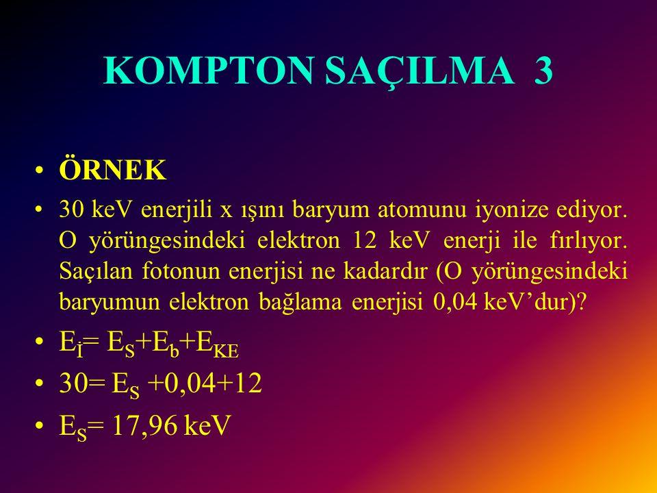 KOMPTON SAÇILMA 3 Matematik olarak bu etkileşimde enerji transferi şöyle ifade edilebilir: E İ =E S +E b +E KE E i : gelen x-ışını foton enerjisi, E S