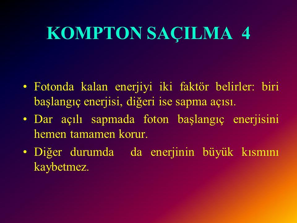 KOMPTON SAÇILMA 3 ÖRNEK 30 keV enerjili x ışını baryum atomunu iyonize ediyor. O yörüngesindeki elektron 12 keV enerji ile fırlıyor. Saçılan fotonun e