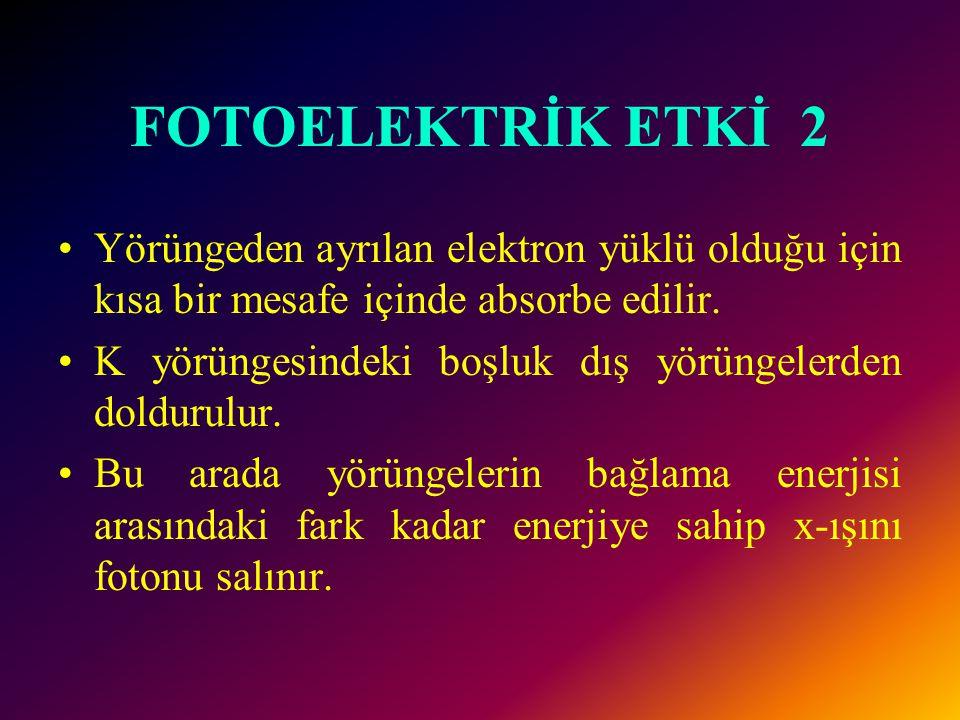 FOTOELEKTRİK ETKİ 1 Bu etkileşimde x-ışını fotonları target atomlarının iç yörünge elektronları ile etkileşime girer ve enerjileri bağlama enerjilerin