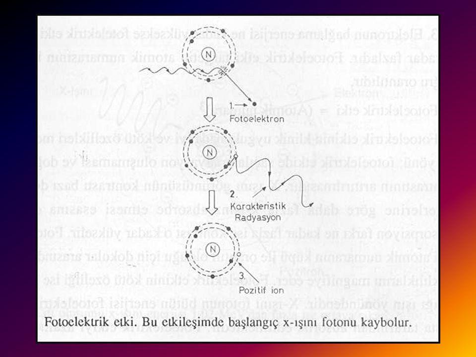 FOTOELEKTRİK ETKİ 2 Yörüngeden ayrılan elektron yüklü olduğu için kısa bir mesafe içinde absorbe edilir. K yörüngesindeki boşluk dış yörüngelerden dol