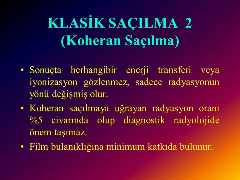 KLASİK SAÇILMA 2 (Koheran Saçılma) Sonuçta herhangibir enerji transferi veya iyonizasyon gözlenmez, sadece radyasyonun yönü değişmiş olur.