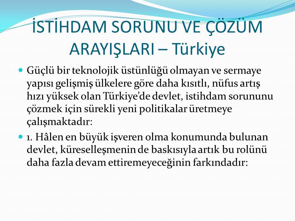 İSTİHDAM SORUNU VE ÇÖZÜM ARAYIŞLARI – Türkiye Güçlü bir teknolojik üstünlüğü olmayan ve sermaye yapısı gelişmiş ülkelere göre daha kısıtlı, nüfus artış hızı yüksek olan Türkiye'de devlet, istihdam sorununu çözmek için sürekli yeni politikalar üretmeye çalışmaktadır: 1.