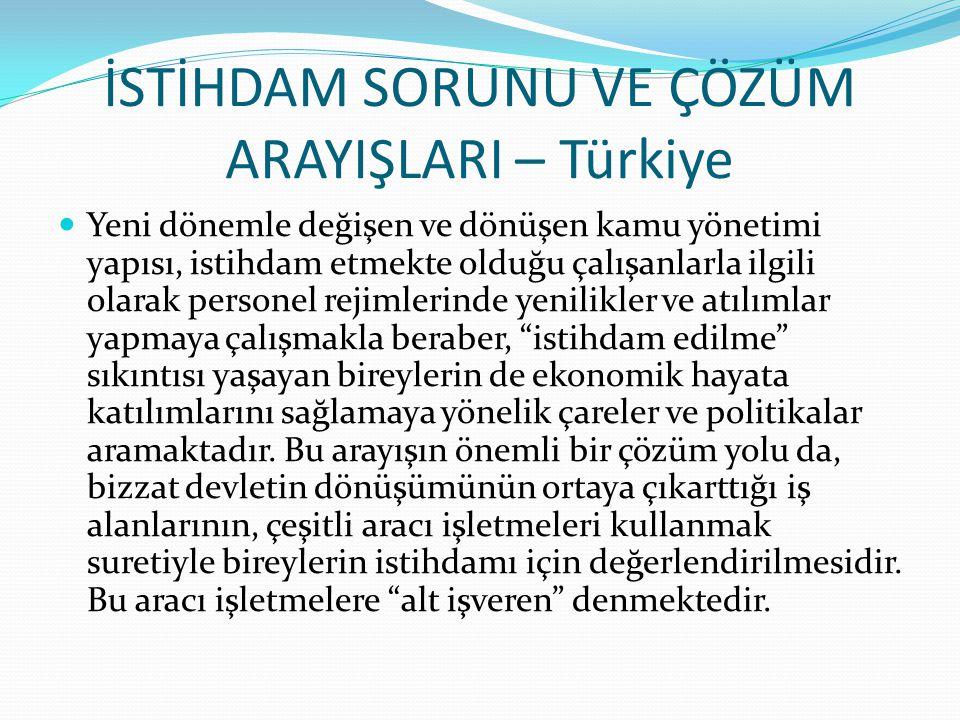 İSTİHDAM SORUNU VE ÇÖZÜM ARAYIŞLARI – Türkiye Yeni dönemle değişen ve dönüşen kamu yönetimi yapısı, istihdam etmekte olduğu çalışanlarla ilgili olarak personel rejimlerinde yenilikler ve atılımlar yapmaya çalışmakla beraber, istihdam edilme sıkıntısı yaşayan bireylerin de ekonomik hayata katılımlarını sağlamaya yönelik çareler ve politikalar aramaktadır.