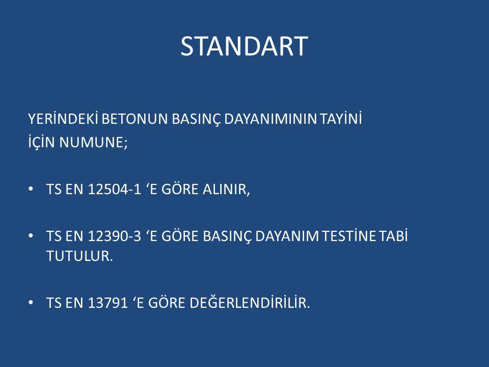 Standart Basınç Dayanımı : TS EN 12350-1, TS EN 12390-2 ve TS EN 12390- 3 'e göre, yapıya dökülen taze betondan alınan, küre tabi tutulan ve basınç dayanımı deneyi uygulanan standart deney numunelerinde (küp veya silindir şekilli) tayin edilen basınç dayanımı.