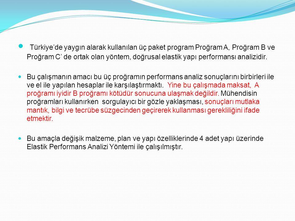 Türkiye'de yaygın alarak kullanılan üç paket program Proğram A, Proğram B ve Proğram C' de ortak olan yöntem, doğrusal elastik yapı performansı analiz