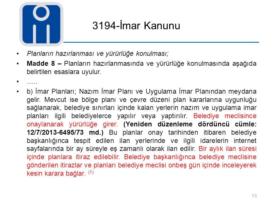 3194-İmar Kanunu Planların hazırlanması ve yürürlüğe konulması; Madde 8 – Planların hazırlanmasında ve yürürlüğe konulmasında aşağıda belirtilen esasl