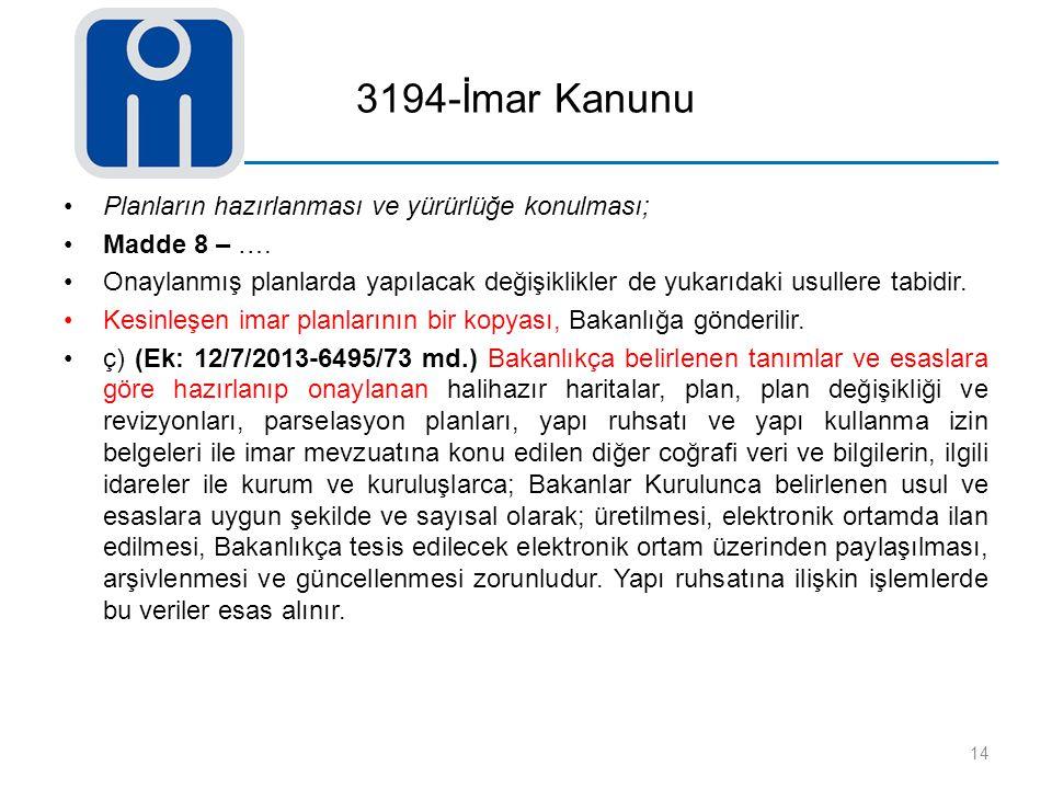 3194-İmar Kanunu Planların hazırlanması ve yürürlüğe konulması; Madde 8 – …. Onaylanmış planlarda yapılacak değişiklikler de yukarıdaki usullere tabid
