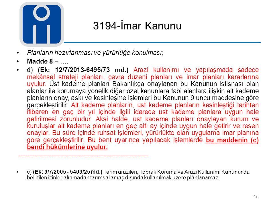 3194-İmar Kanunu Planların hazırlanması ve yürürlüğe konulması; Madde 8 – …. d) (Ek: 12/7/2013-6495/73 md.) Arazi kullanımı ve yapılaşmada sadece mekâ