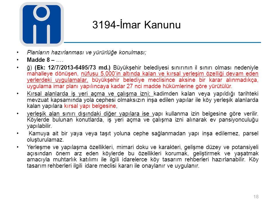 3194-İmar Kanunu Planların hazırlanması ve yürürlüğe konulması; Madde 8 – …. ğ) (Ek: 12/7/2013-6495/73 md.) Büyükşehir belediyesi sınırının il sınırı