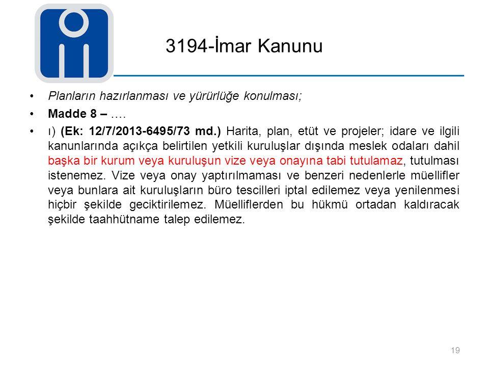 3194-İmar Kanunu Planların hazırlanması ve yürürlüğe konulması; Madde 8 – …. ı) (Ek: 12/7/2013-6495/73 md.) Harita, plan, etüt ve projeler; idare ve i