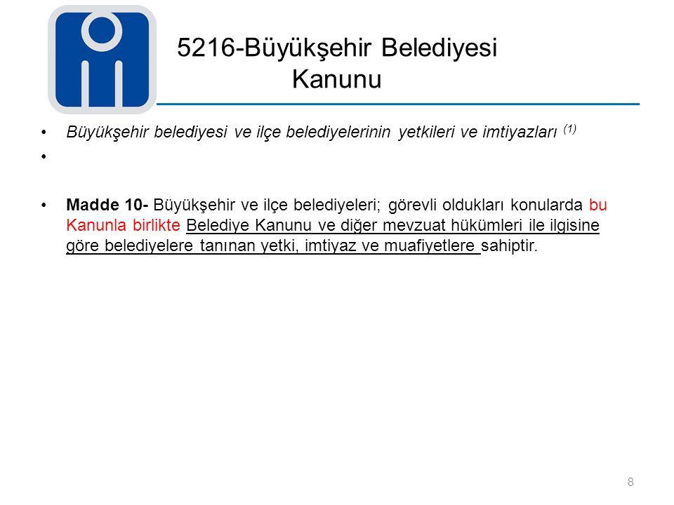 5216-Büyükşehir Belediyesi Kanunu Büyükşehir belediyesi ve ilçe belediyelerinin yetkileri ve imtiyazları (1) Madde 10- Büyükşehir ve ilçe belediyeleri