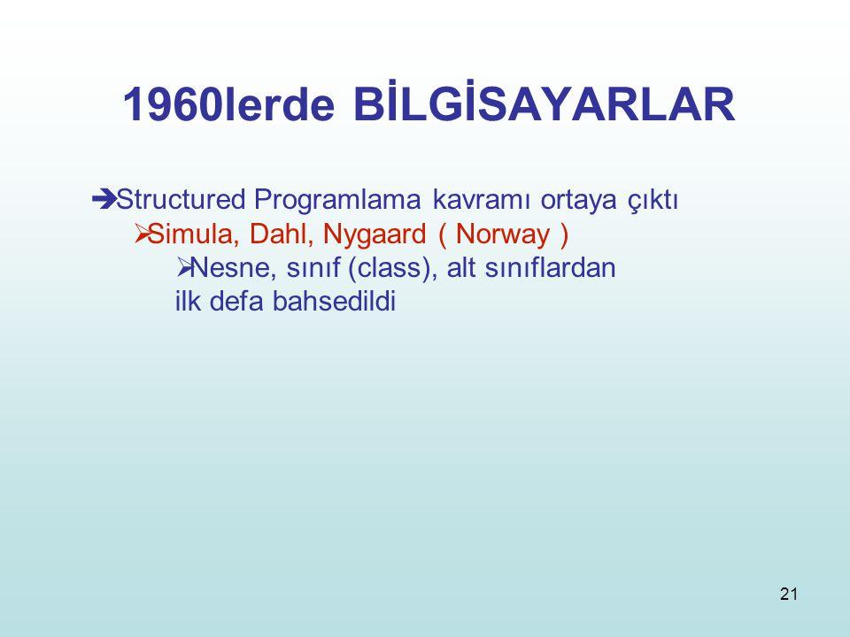 21 1960lerde BİLGİSAYARLAR  Structured Programlama kavramı ortaya çıktı  Simula, Dahl, Nygaard ( Norway )  Nesne, sınıf (class), alt sınıflardan il