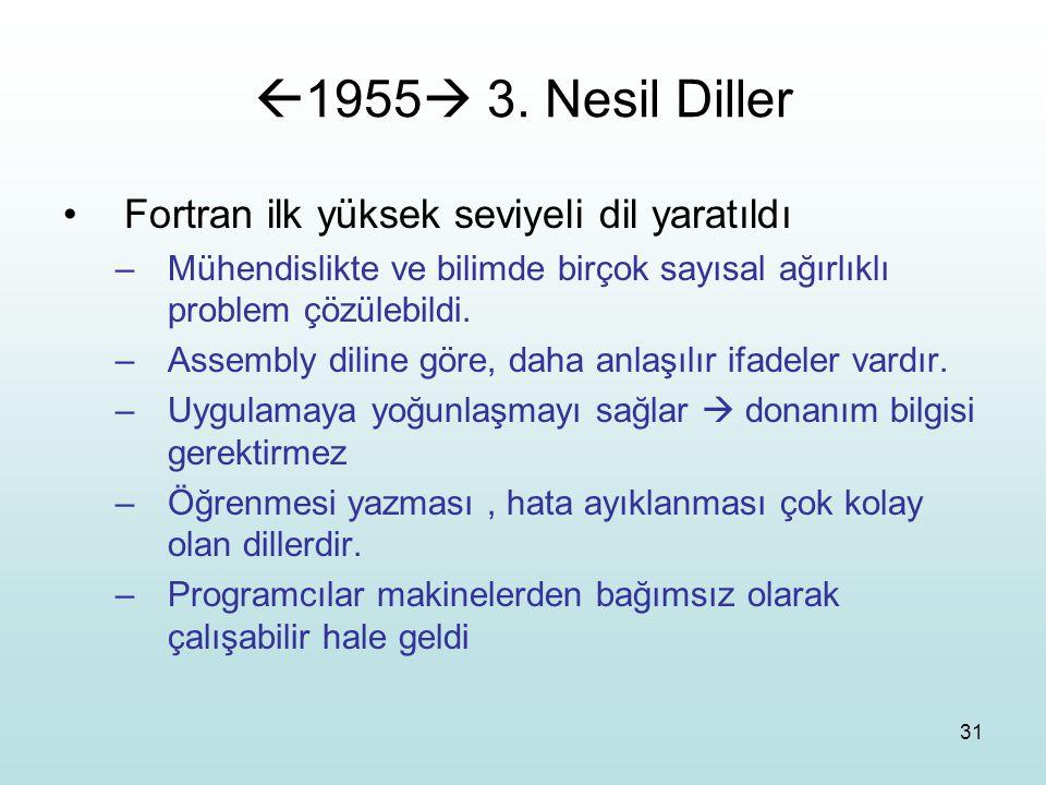 31  1955  3. Nesil Diller Fortran ilk yüksek seviyeli dil yaratıldı –Mühendislikte ve bilimde birçok sayısal ağırlıklı problem çözülebildi. –Assembl