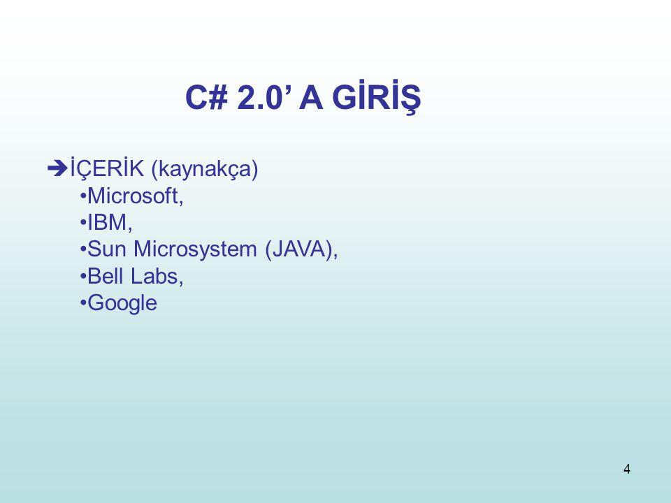 4  İÇERİK (kaynakça) Microsoft, IBM, Sun Microsystem (JAVA), Bell Labs, Google C# 2.0' A GİRİŞ