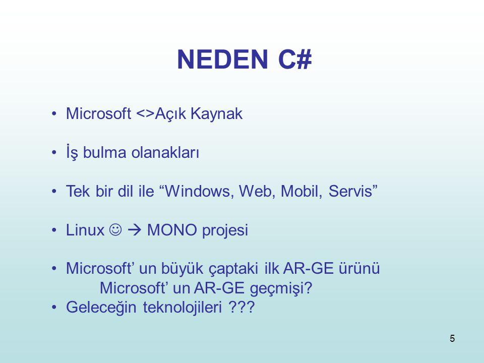 """5 NEDEN C# Microsoft <>Açık Kaynak İş bulma olanakları Tek bir dil ile """"Windows, Web, Mobil, Servis"""" Linux  MONO projesi Microsoft' un büyük çaptaki"""