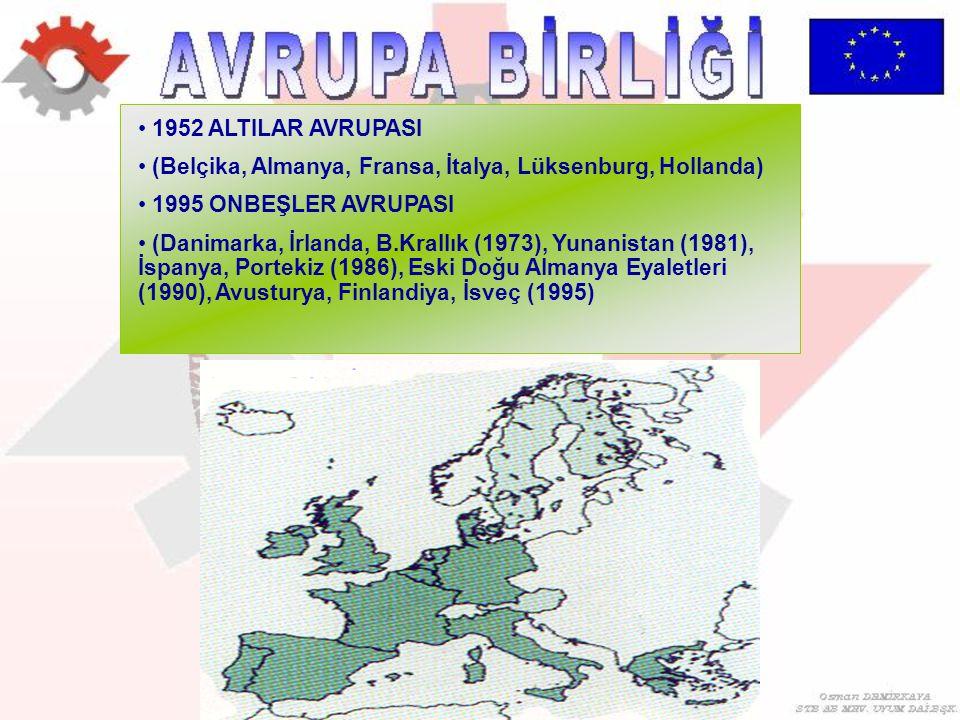 1952 ALTILAR AVRUPASI (Belçika, Almanya, Fransa, İtalya, Lüksenburg, Hollanda) 1995 ONBEŞLER AVRUPASI (Danimarka, İrlanda, B.Krallık (1973), Yunanista