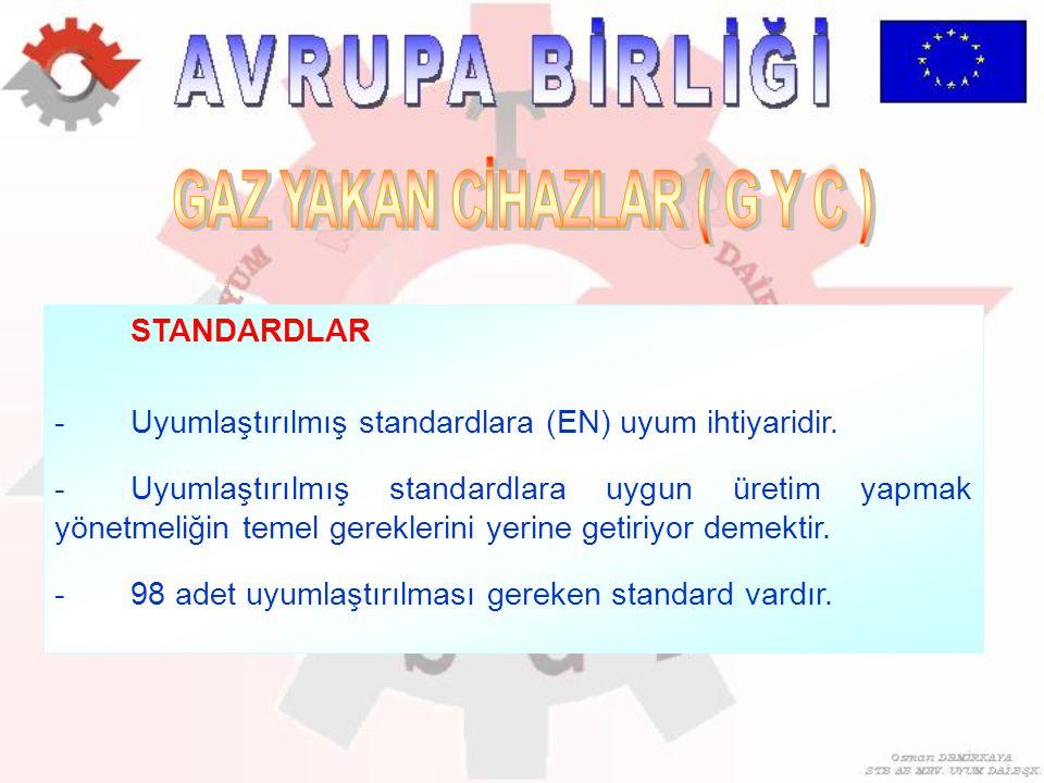 STANDARDLAR -Uyumlaştırılmış standardlara (EN) uyum ihtiyaridir. -Uyumlaştırılmış standardlara uygun üretim yapmak yönetmeliğin temel gereklerini yeri