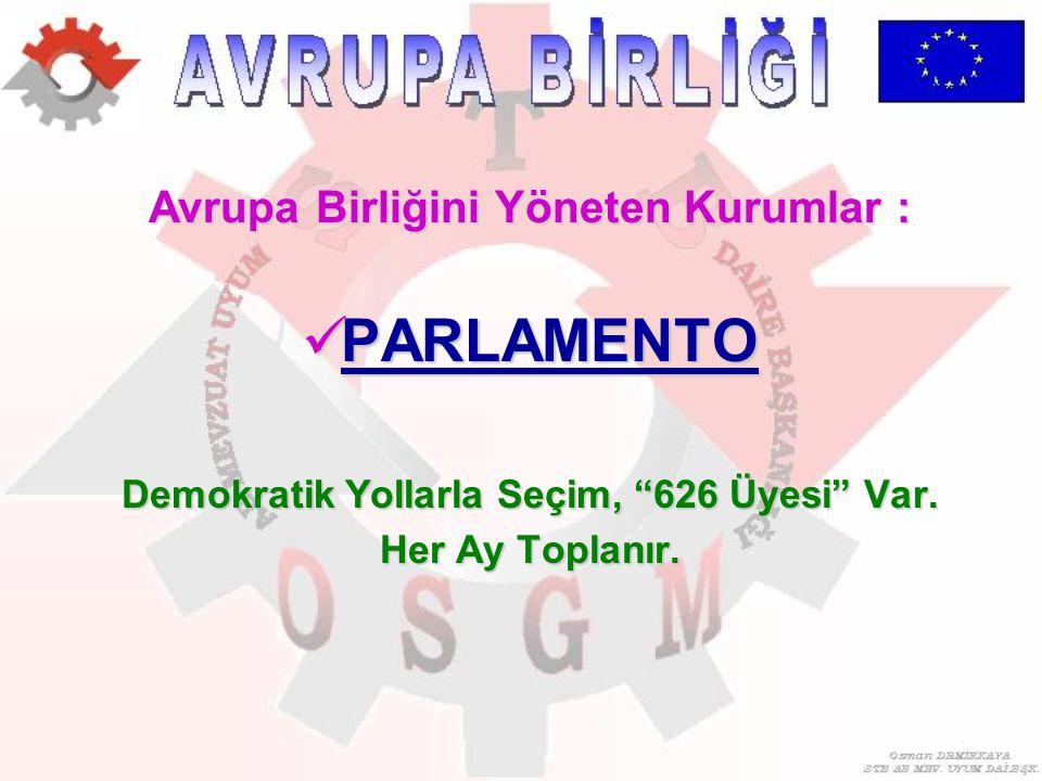 """Avrupa Birliğini Yöneten Kurumlar : PARLAMENTO PARLAMENTO Demokratik Yollarla Seçim, """"626 Üyesi"""" Var. Her Ay Toplanır."""