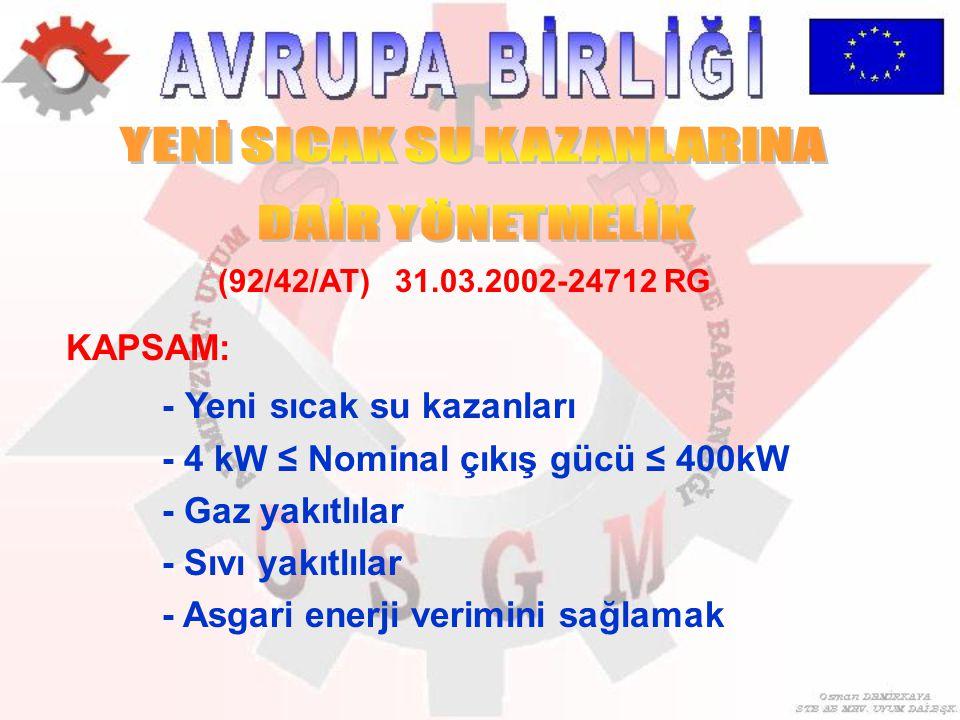 KAPSAM: - Yeni sıcak su kazanları - 4 kW ≤ Nominal çıkış gücü ≤ 400kW - Gaz yakıtlılar - Sıvı yakıtlılar - Asgari enerji verimini sağlamak (92/42/AT)