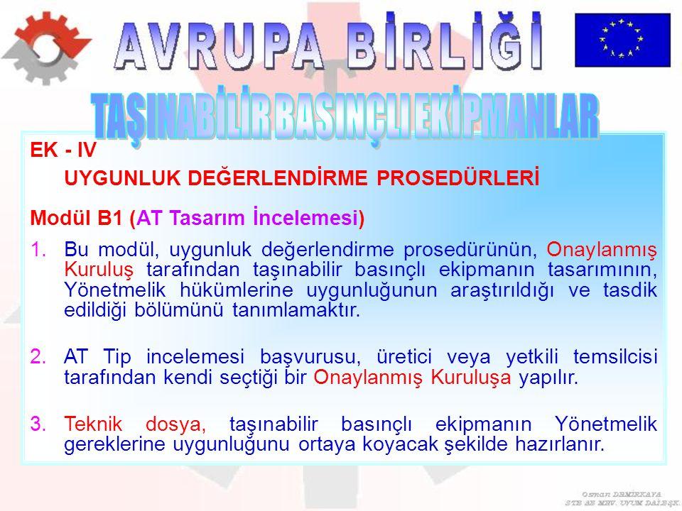 EK - IV UYGUNLUK DEĞERLENDİRME PROSEDÜRLERİ Modül B1 (AT Tasarım İncelemesi) 1.Bu modül, uygunluk değerlendirme prosedürünün, Onaylanmış Kuruluş taraf