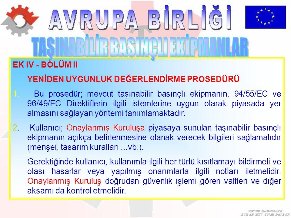 EK IV - BÖLÜM II YENİDEN UYGUNLUK DEĞERLENDİRME PROSEDÜRÜ 1. Bu prosedür; mevcut taşınabilir basınçlı ekipmanın, 94/55/EC ve 96/49/EC Direktiflerin il