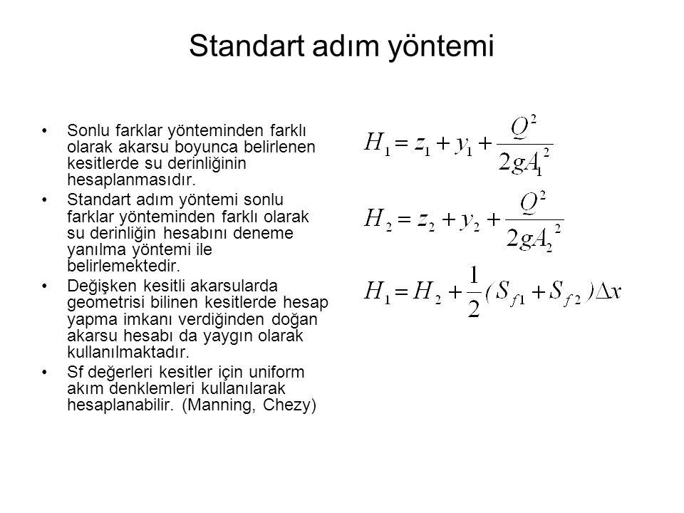 Standart adım yöntemi Sonlu farklar yönteminden farklı olarak akarsu boyunca belirlenen kesitlerde su derinliğinin hesaplanmasıdır. Standart adım yönt