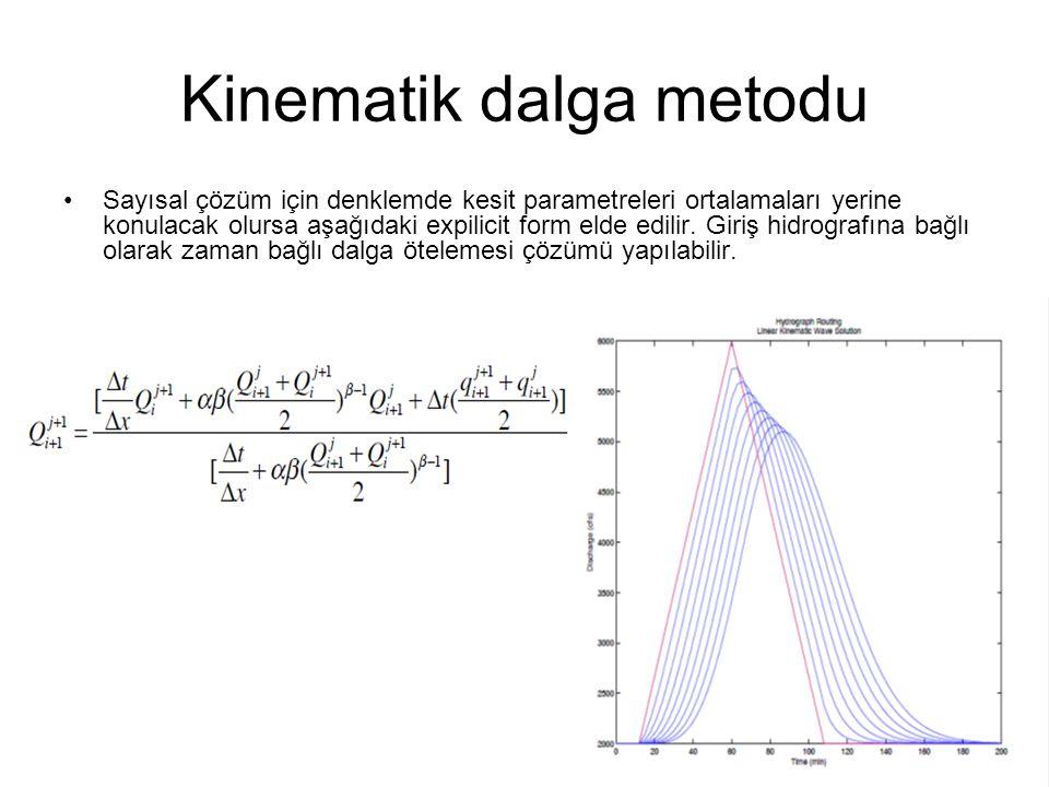 Kinematik dalga metodu Sayısal çözüm için denklemde kesit parametreleri ortalamaları yerine konulacak olursa aşağıdaki expilicit form elde edilir. Gir