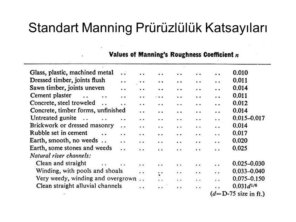 Standart Manning Prürüzlülük Katsayıları