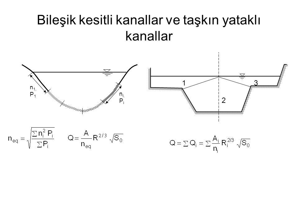 Bileşik kesitli kanallar ve taşkın yataklı kanallar n i, P i n 1, P 1 1 2 3