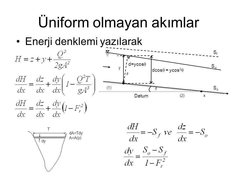 Üniform olmayan akımlar Enerji denklemi yazılarak x   (1) (2) d=ycos  y SwSw SfSf Datum SoSo dcos  = ycos 2  T dy dA=Tdy A=A(y)