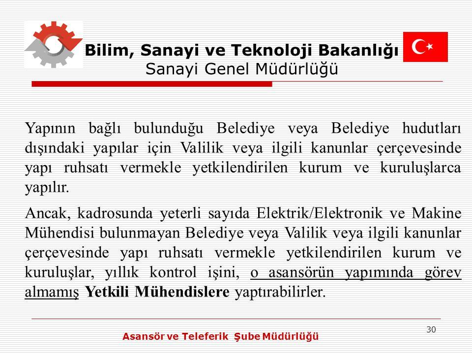 30 Bilim, Sanayi ve Teknoloji Bakanlığı Sanayi Genel Müdürlüğü Yapının bağlı bulunduğu Belediye veya Belediye hudutları dışındaki yapılar için Valilik