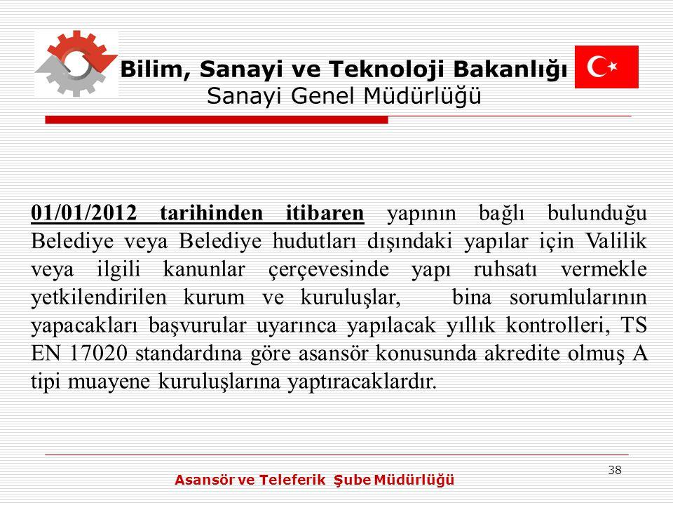 38 Bilim, Sanayi ve Teknoloji Bakanlığı Sanayi Genel Müdürlüğü 01/01/2012 tarihinden itibaren yapının bağlı bulunduğu Belediye veya Belediye hudutları