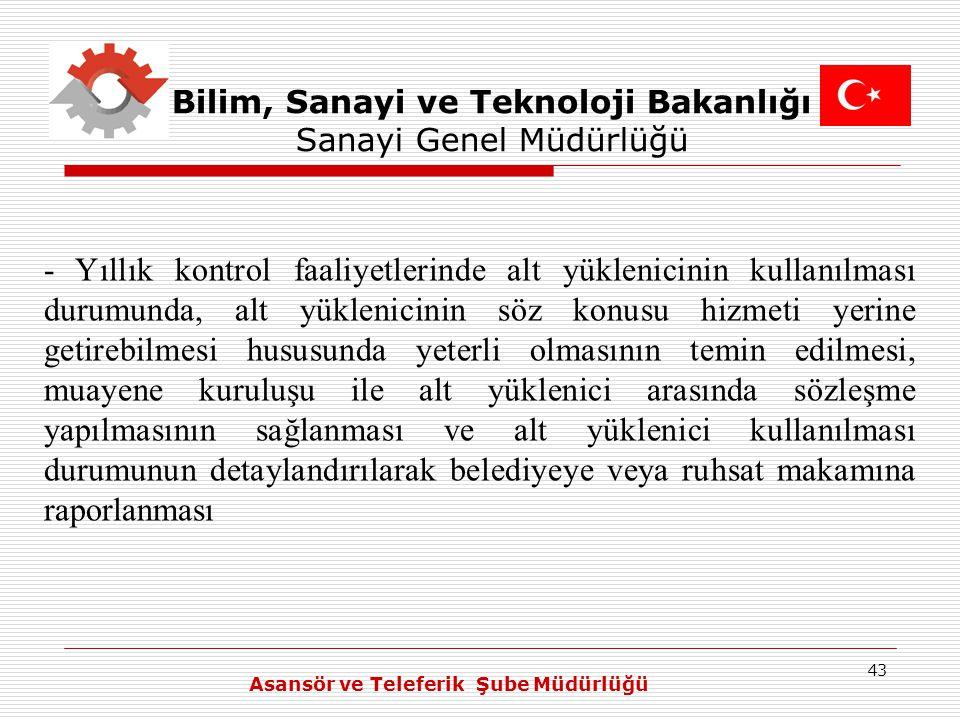 43 Bilim, Sanayi ve Teknoloji Bakanlığı Sanayi Genel Müdürlüğü - Yıllık kontrol faaliyetlerinde alt yüklenicinin kullanılması durumunda, alt yüklenici
