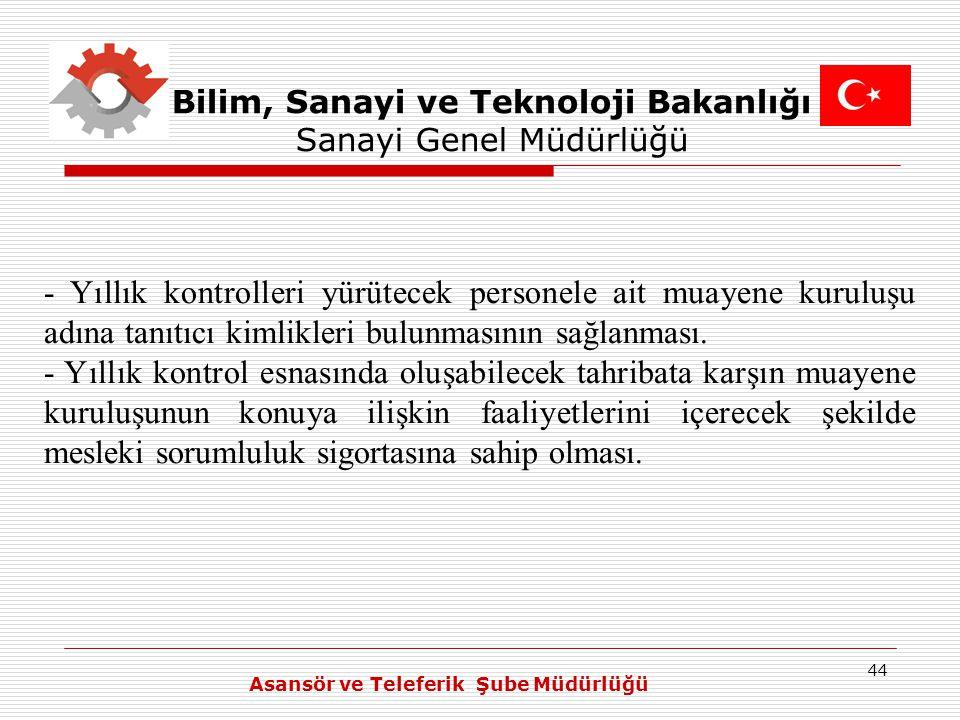44 Bilim, Sanayi ve Teknoloji Bakanlığı Sanayi Genel Müdürlüğü - Yıllık kontrolleri yürütecek personele ait muayene kuruluşu adına tanıtıcı kimlikleri