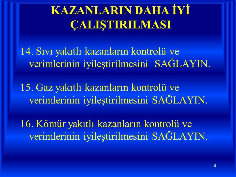 9 KAZANLARIN DAHA İYİ ÇALIŞTIRILMASI 17.
