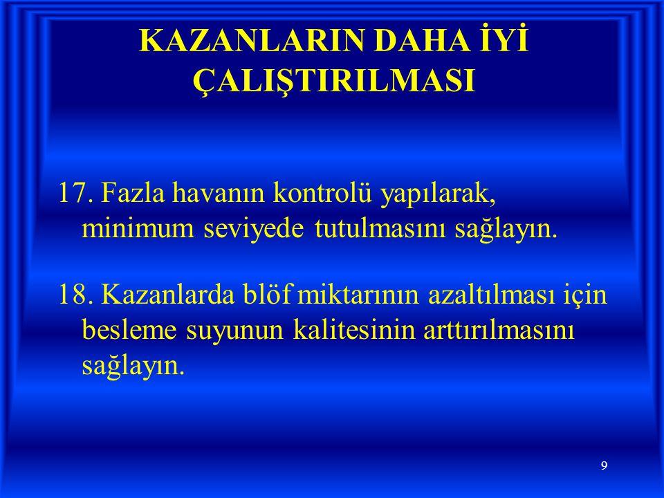 10 KAZANLARIN DAHA İYİ ÇALIŞTIRILMASI 19.
