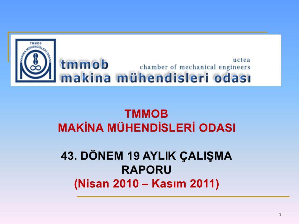 TMMOB MAKİNA MÜHENDİSLERİ ODASI 43. DÖNEM 19 AYLIK ÇALIŞMA RAPORU (Nisan 2010 – Kasım 2011) 1