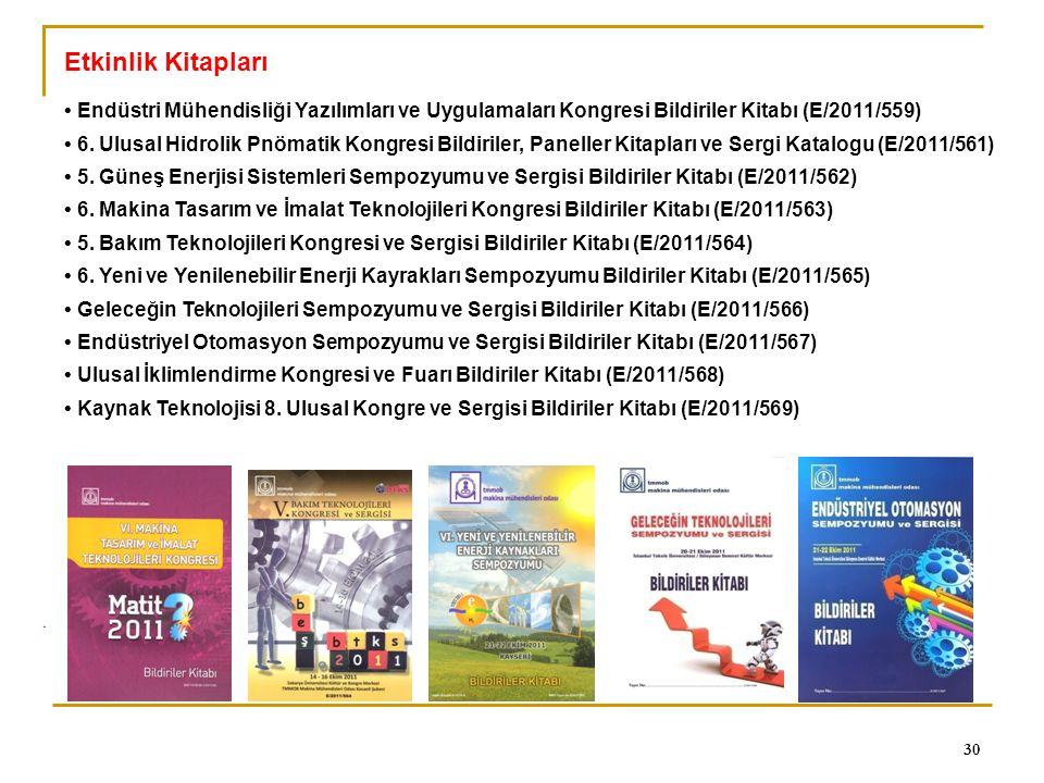 0 30 Etkinlik Kitapları Endüstri Mühendisliği Yazılımları ve Uygulamaları Kongresi Bildiriler Kitabı (E/2011/559) 6. Ulusal Hidrolik Pnömatik Kongresi